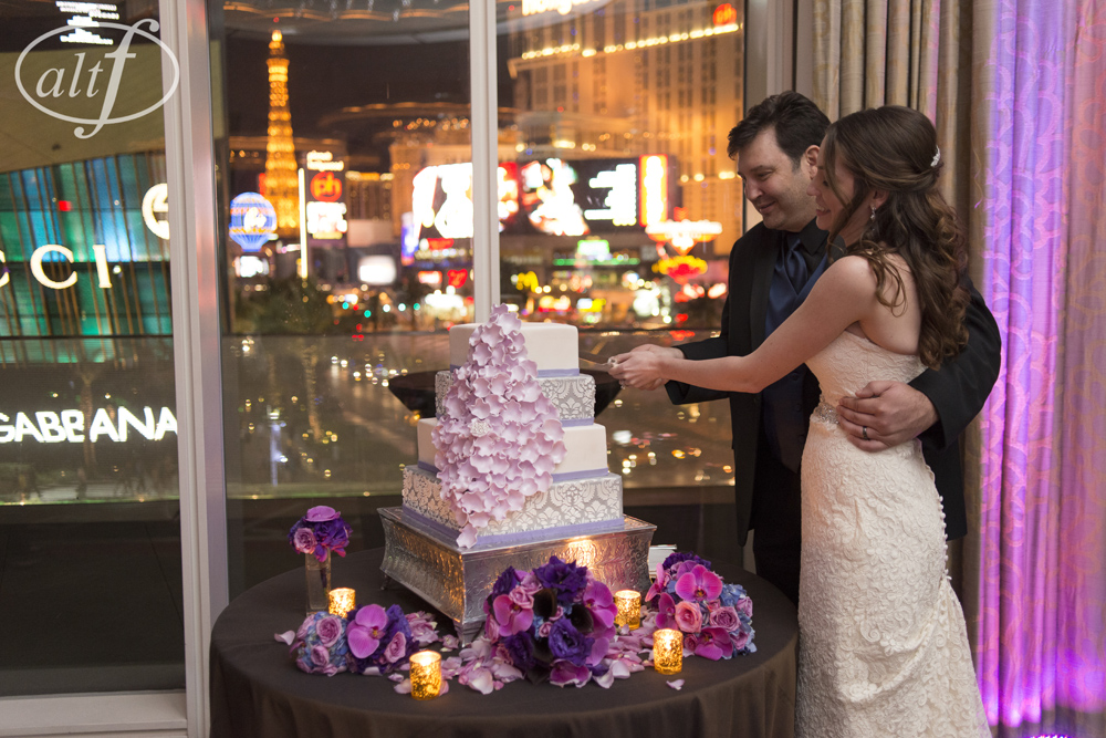 Cutting the Cake in front of the Bright Lights of The Strip