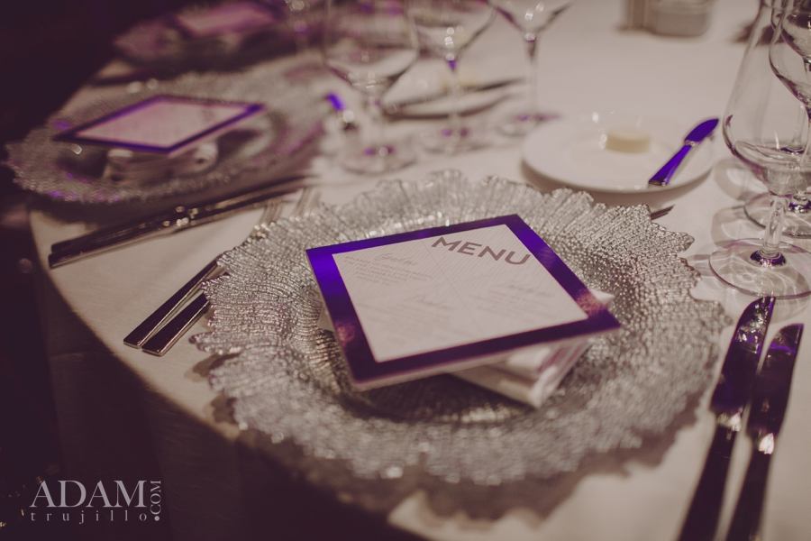 Las Vegas Wedding Planner Andrea Eppolito shares photos of Ameba Starburst Chargers and menus by She Paperie; taken at the WIPA Meeting of June 2015.