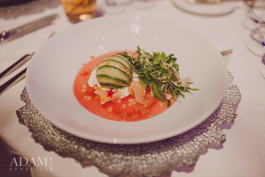 Opulence - Crab Salad wrapped in avocado with a pomegranate base.  Las Vegas Wedding Planner Andrea Eppolito shares photos of Aria's Wedding Menu