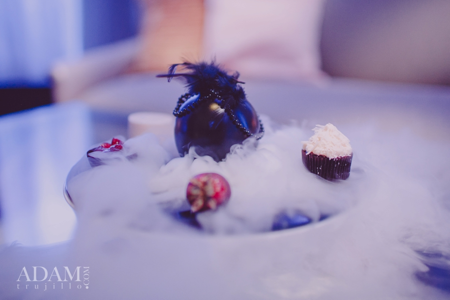 Decadance - The Chocolate Aphrodisiac Course was served on a plate that came to life with smokey dry ice.  Las Vegas Wedding Planner Andrea Eppolito shares photos of Aria's Wedding Menu