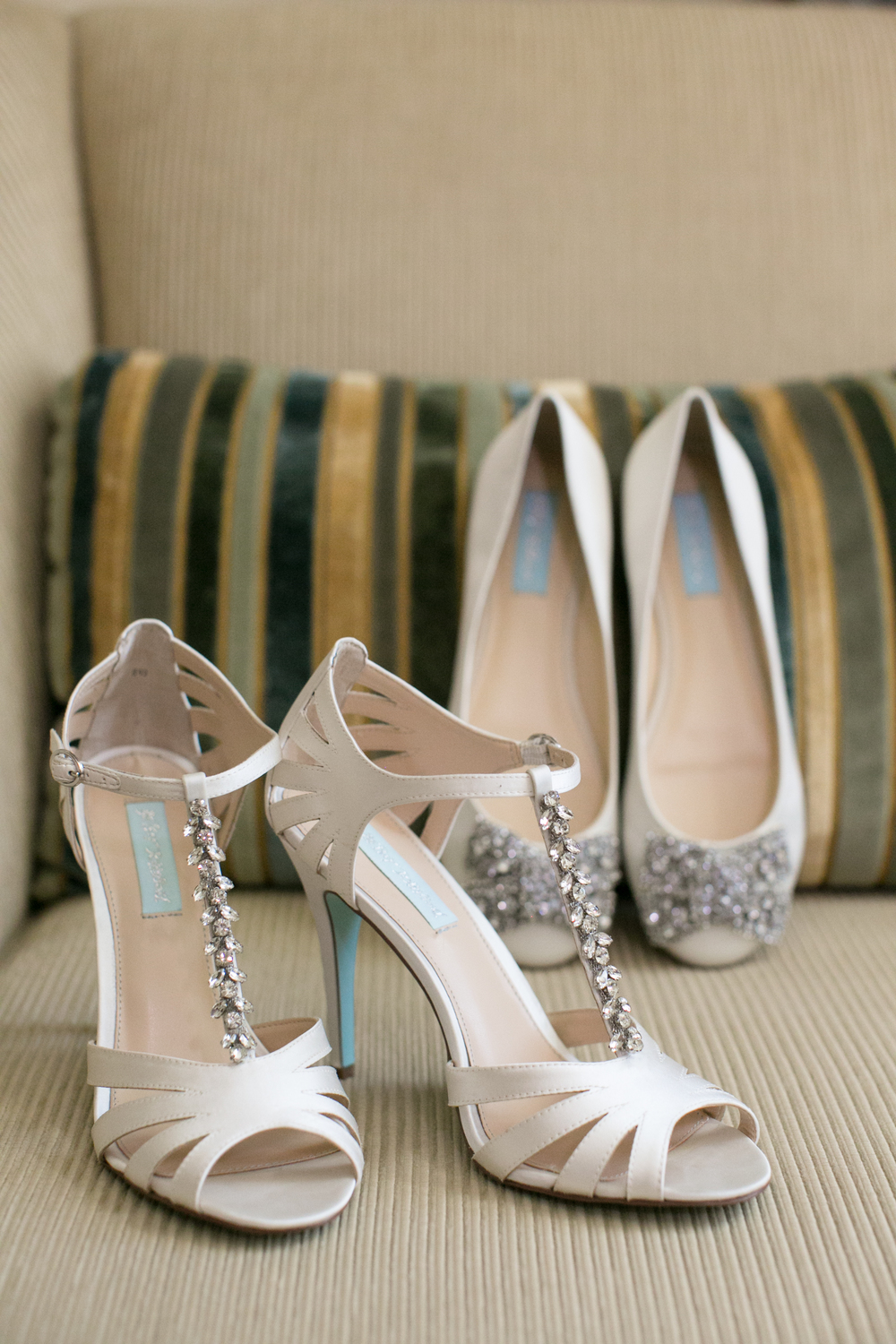 Betsey Johnson Wedding Shoes with a Blue Bottom and Strap. Las Vegas Wedding Planner Andrea Eppolito  |  Wedding at The Venetian Las Vegas  |  Florals and Decor by Naakiti Floral  |  Photos by Meg Ruth