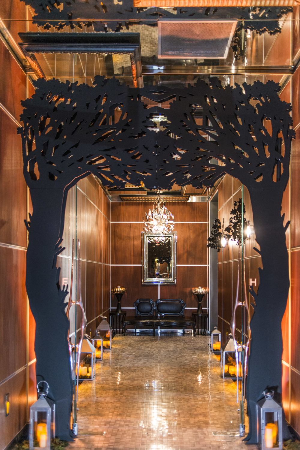 The entry way of  The Knot Pro Party at Hyde Bellagio.  Photo by Altf.com  Event Planning and Design by Las Vegas Wedding Planner Andrea Eppolito.  Decor by By Dzign.