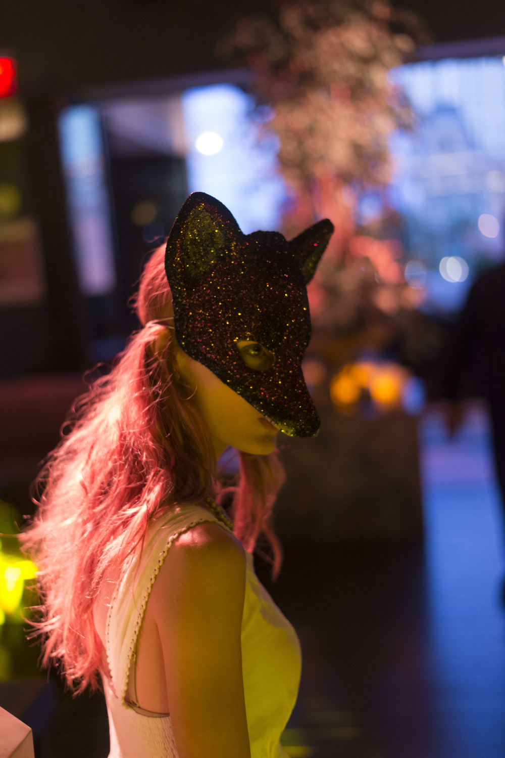 What does the fox say?  The hunter and huntress feeling was brought to live with model wearing masks that beckoned you into the space.  The Knot Pro Party at Hyde Bellagio.  Photo by Altf.com  Event Planning and Design by Las Vegas Wedding Planner Andrea Eppolito.  Decor by By Dzign.