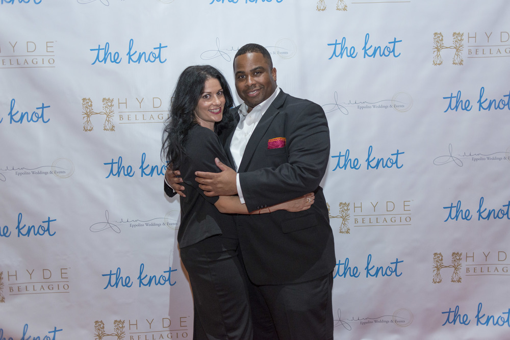 Step & Repeat.  The Knot Pro Party at Hyde Bellagio.  Photo by Altf.com  Event Planning and Design by Las Vegas Wedding Planner Andrea Eppolito.  Decor by By Dzign.