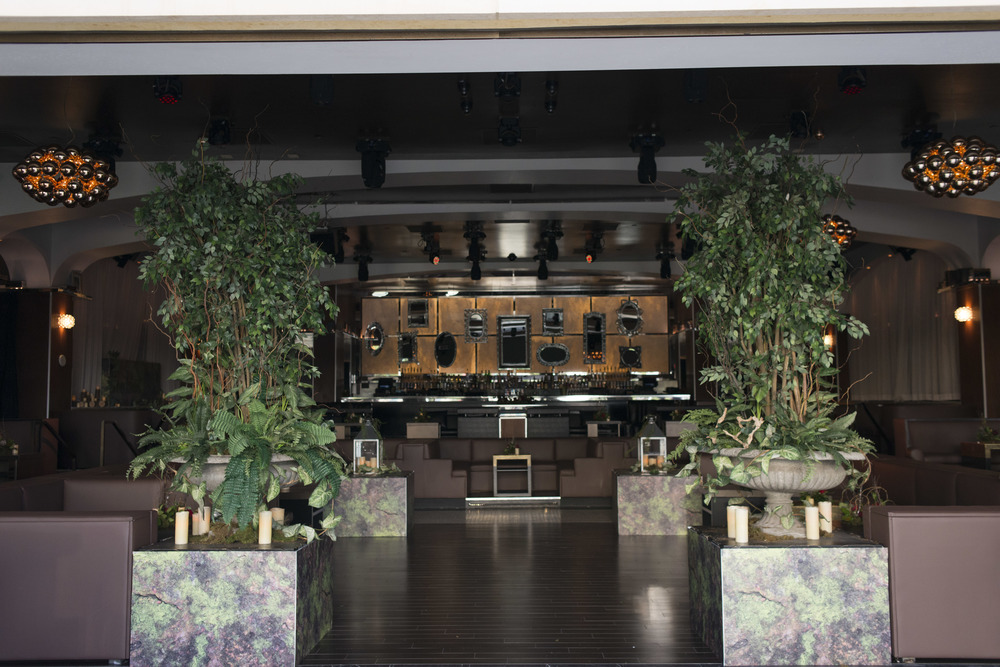 We brought the forrest inside at The Knot Pro Party at Hyde Bellagio.  Photo by Altf.com  Event Planning and Design by Las Vegas Wedding Planner Andrea Eppolito.  Decor by By Dzign.