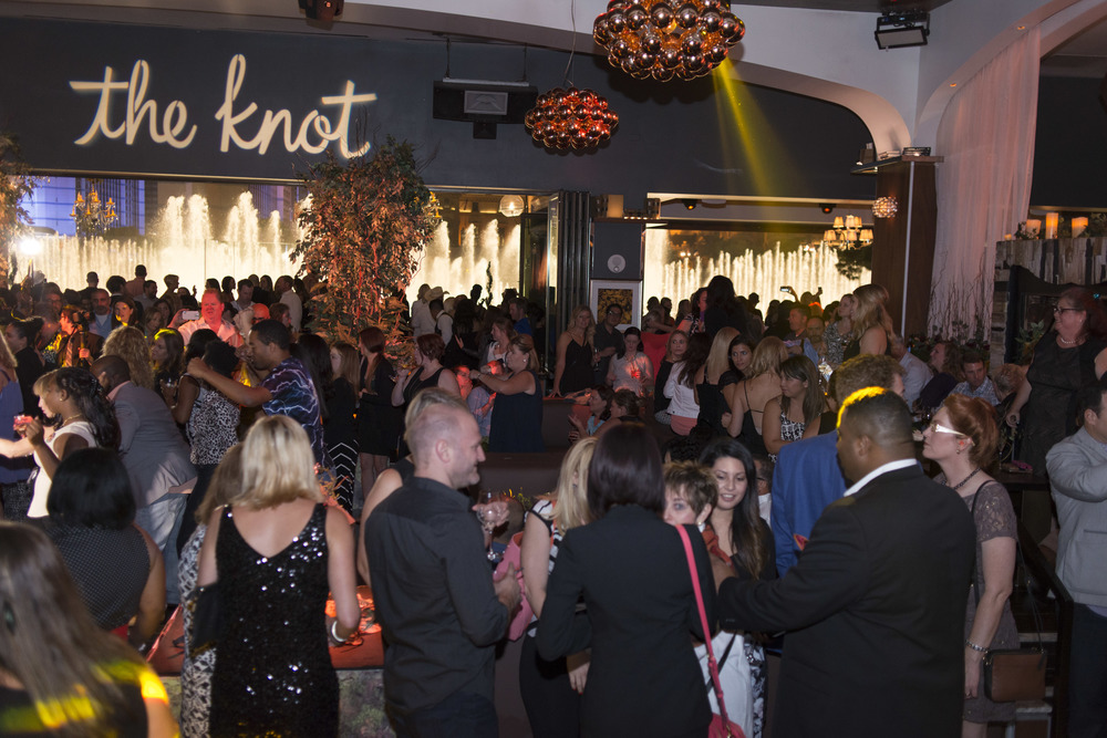 Party like a rock star with the bellagio fountains dancing along side you.  The Knot Pro Party at Hyde Bellagio.  Photo by Altf.com  Event Planning and Design by Las Vegas Wedding Planner Andrea Eppolito.  Decor by By Dzign.