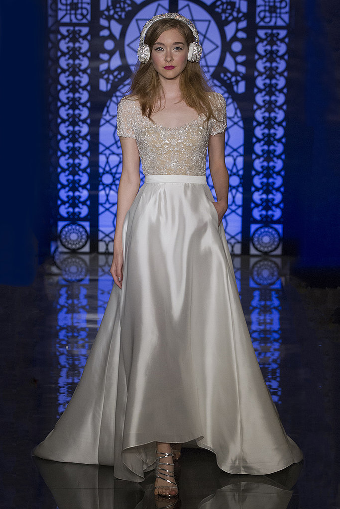 I am totally behind the high-low hemline, and even like the little cap sleeve top for a younger bride.  But the headphones are a bridal no.  Reem Acra 2016.  Photo Courtesy of Popsugar.com.