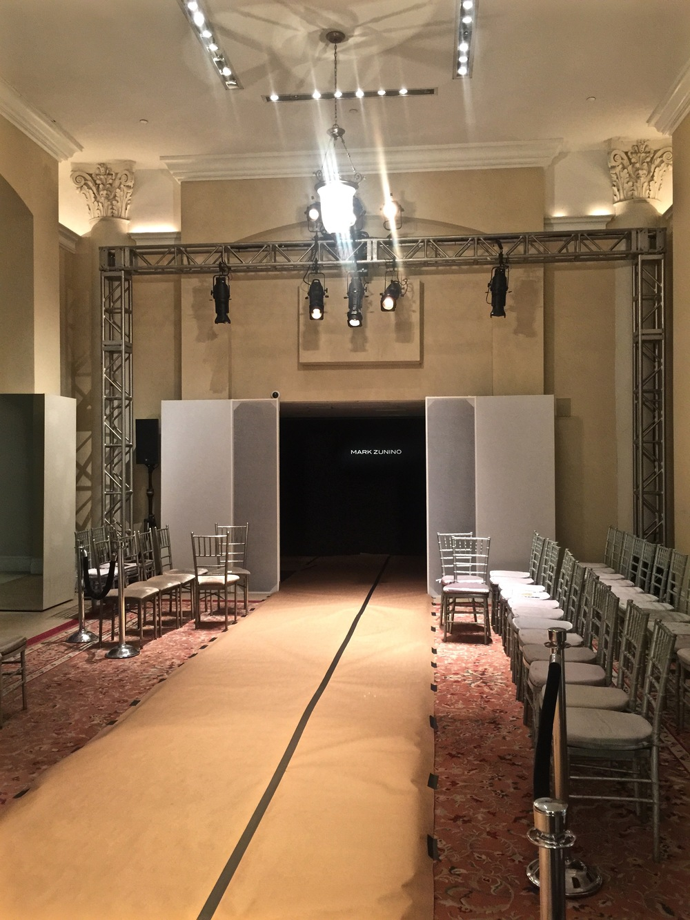 While at a fitting for one of my brides at Kleinfeld New York I managed to check in on the set up of the Mark Zunino fashion show.