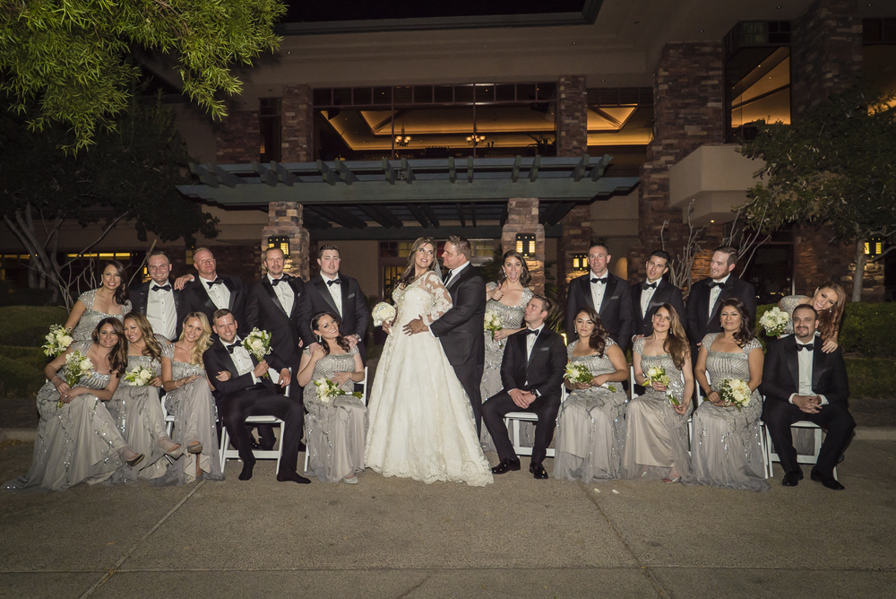 Fun bridal party portraits.  Las Vegas Wedding Planner Andrea Eppolito designed this luxury wedding at Red Rock Country Club. By Dzign handled the decor shot by wedding photographer Ella Gagiano.