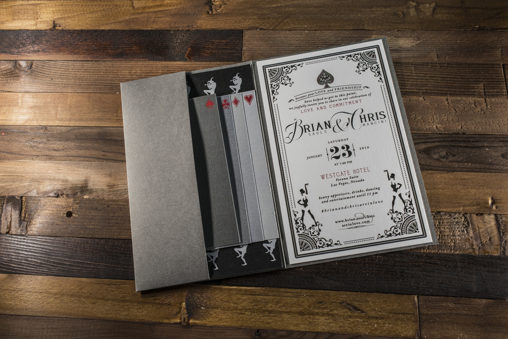 Custom Vintage Las Vegas Wedding Invitations.   Las Vegas Wedding Planner Andrea Eppolito.   Invitation Design by Paper and Home.  Photo by Altf Photography.