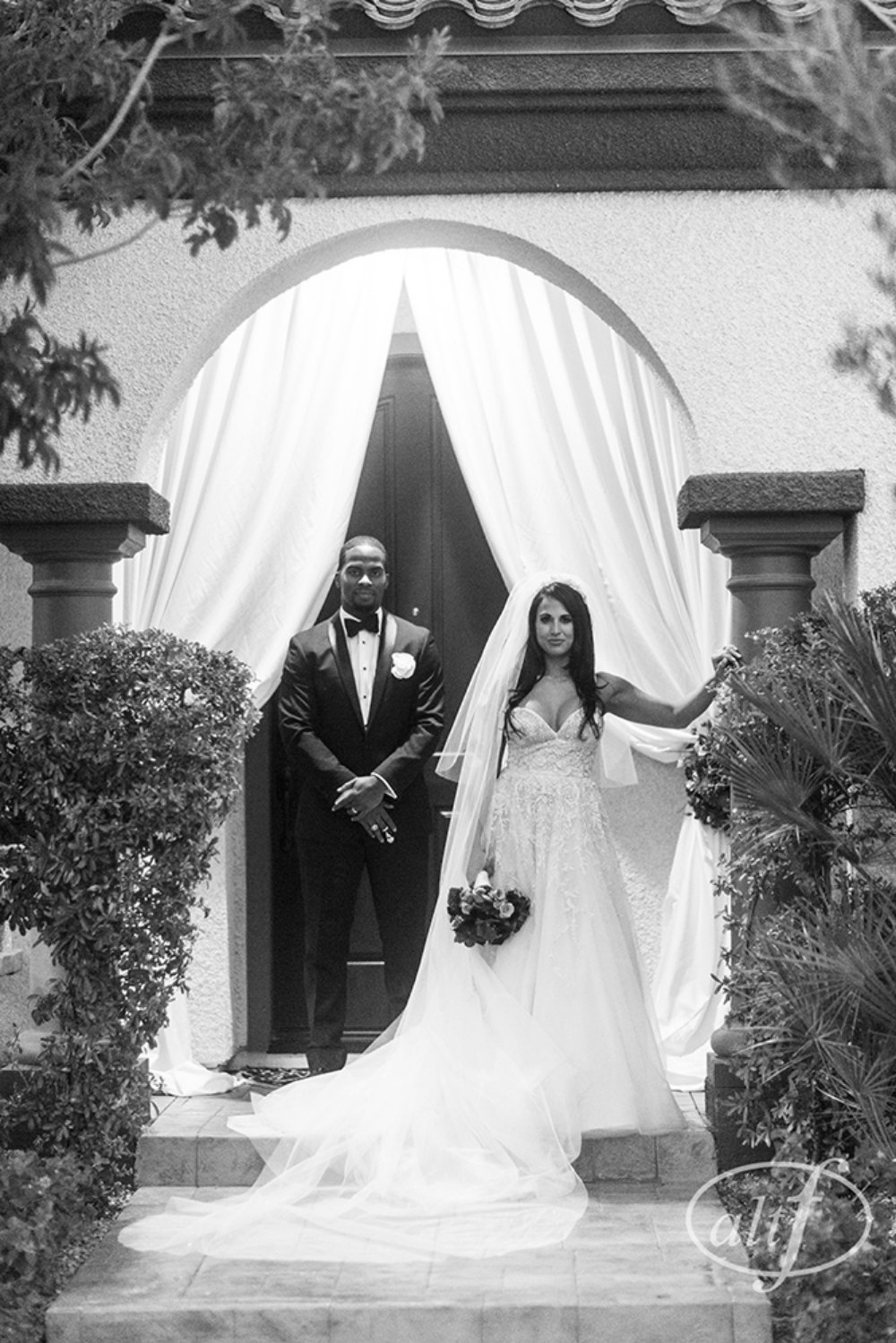 Black and White Couple Portrait Las Vegas Wedding Planner Andrea Eppolito.  Image by Altf.com..