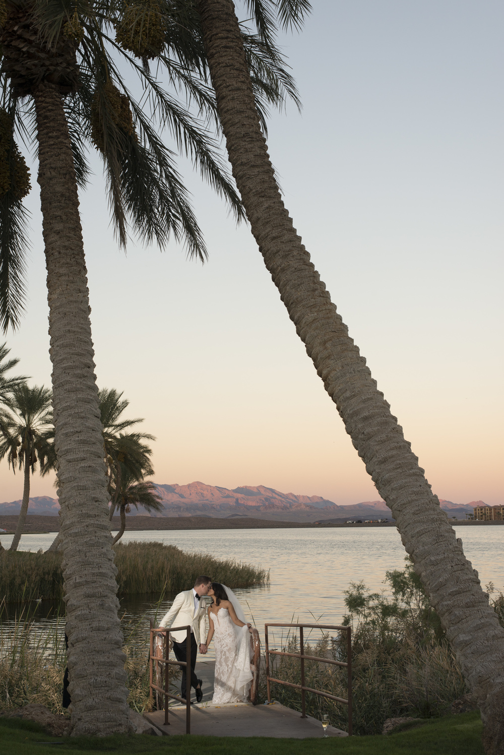 Wedding photos under palm tress.  Vendor Credits: Las Vegas Wedding Planner:  Andrea Eppolito Events  | Venue: The Westin Lake Las Vegas  |  Floral & Decor:  Flora Couture |  Photography:  Altf Photography  |  Videography: Something New Films  | Wedding Cake:  Peridot Sweets  |  Beauty by:  Make Up in the 702  |  Wedding Gown: P'Nina Tornai  |  Veil: Kleinfeld New York  |  Shoes:  Christian Louboutin  |  Tuxedo:  Men's Warehouse
