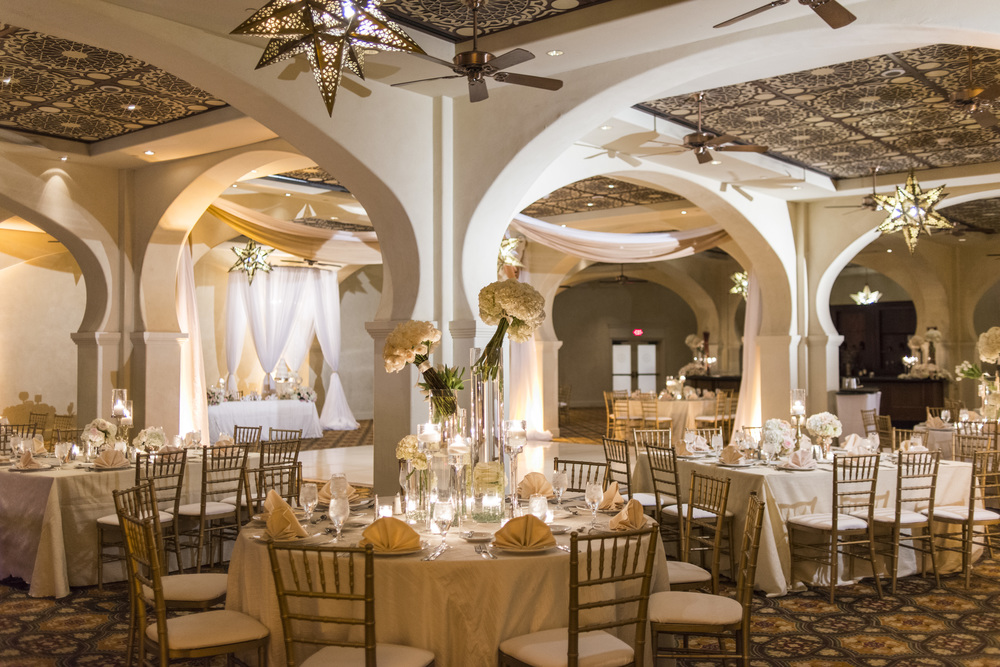 Romantic wedding reception with ivory and gold at Lake Las Vegas.  Vendor Credits: Las Vegas Wedding Planner:  Andrea Eppolito Events  | Venue: The Westin Lake Las Vegas  |  Floral & Decor:  Flora Couture |  Photography:  Altf Photography  |  Videography: Something New Films  | Wedding Cake:  Peridot Sweets  |  Beauty by:  Make Up in the 702  |  Wedding Gown: P'Nina Tornai  |  Veil: Kleinfeld New York  |  Shoes:  Christian Louboutin  |  Tuxedo:  Men's Warehouse