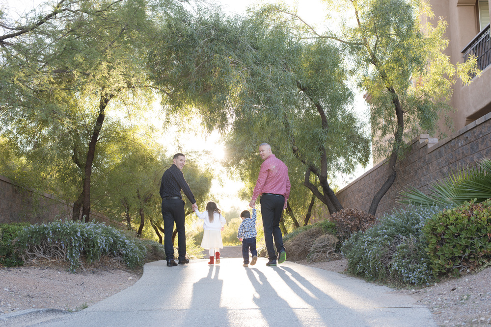My Two Dads!  Two grooms' engagement photos in Las Vegas with their children.  Same Sex wedding planner for a gay wedding in Las Vegas.  Photo by Altf.com