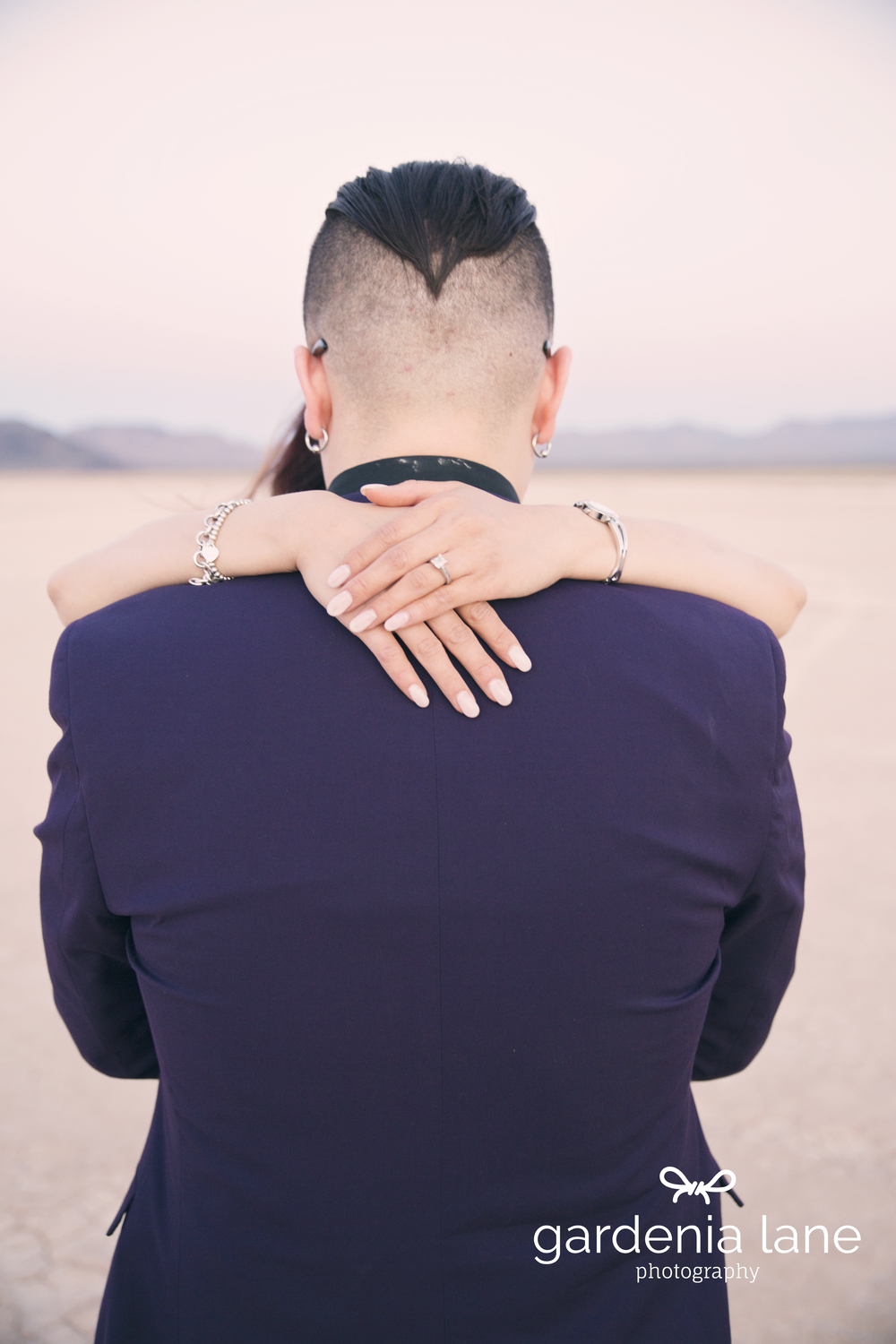 Desert Engagement Photos.  Las Vegas Wedding Planner Andrea Eppolito is handling Sharon and Lane's destination wedding at the SLS.    Engagement photo by   Gardenia Lane.