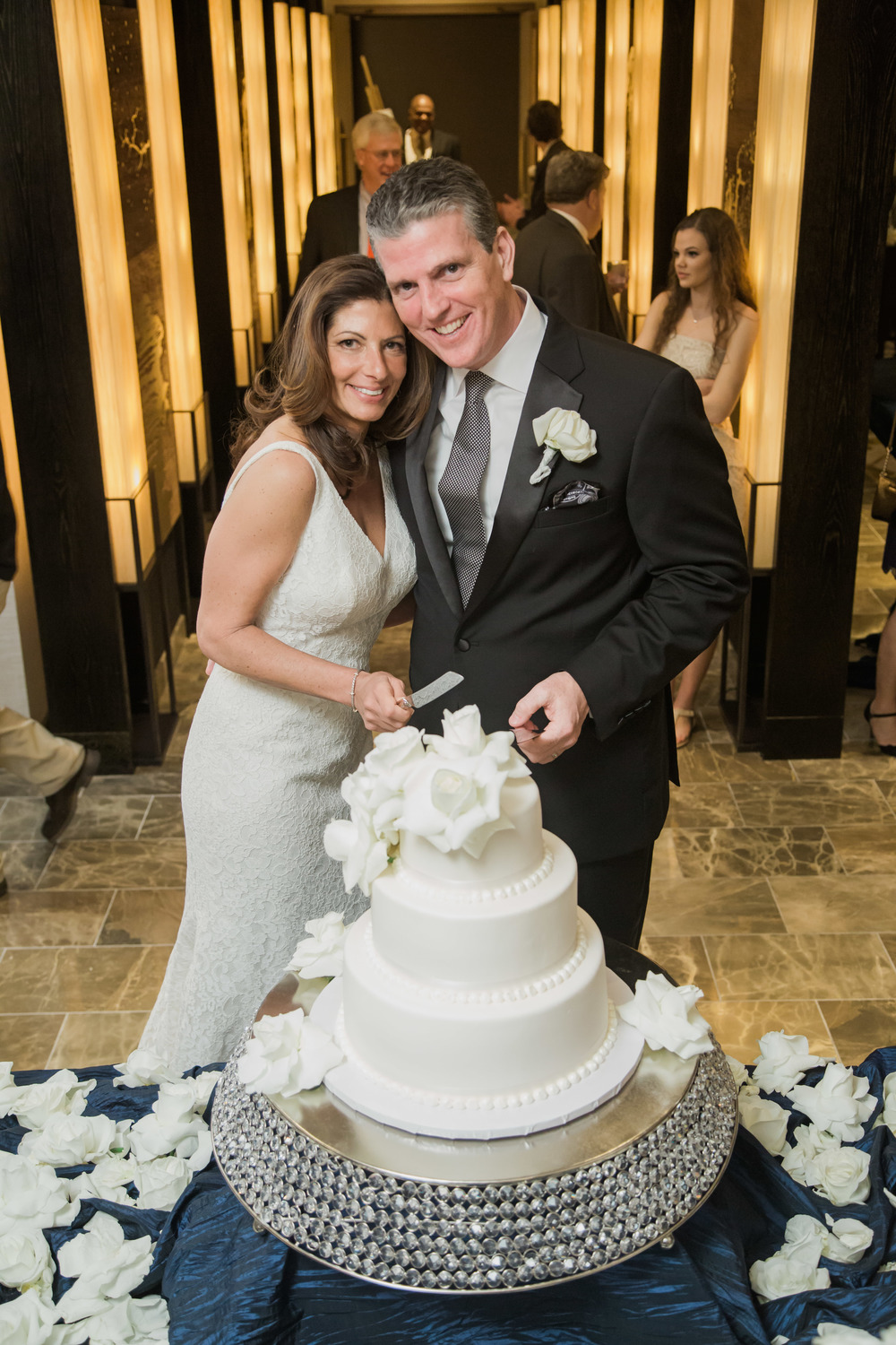 Wedding cake by the pastry team at Caesars Palace.  Flowers by DBD Vegas.  I love the blue linen!  Thank you to my friends at Caesars and The Nobu Hotel for all of your support and for allowing me to do such an intimate wedding in the Nobu Villas.  And to my creative partners, I truly could not have done this without you!  Always....