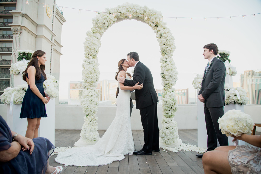 The first kiss.   Vendor Credits:    Wedding in the   Nobu Villa    |    Las Vegas Wedding Planner   Andrea Eppolito     |    Photography by   Adam Frazier    |    Videography by   Pure Light Creative    |    Floral and Decor by   Destinations by Design    |  Lighting by LED Unplugged  |    Music by   DJ Mike Fox