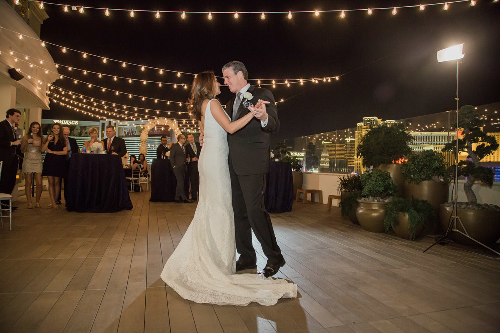 First dance beneath the stars.  Vendor Credits:    Wedding in the   Nobu Villa    |    Las Vegas Wedding Planner   Andrea Eppolito     |    Photography by   Adam Frazier    |    Videography by   Pure Light Creative    |    Floral and Decor by   Destinations by Design    |  Lighting by LED Unplugged  |    Music by   DJ Mike Fox