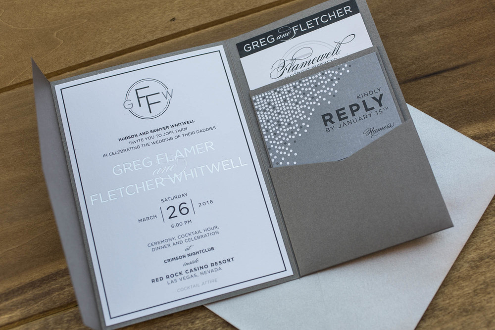 Pocket invitations by Paper and Home.  Gay Wedding at Red Rock Resort by Las Vegas Wedding Planner Andrea Eppolito.  Images by Altf Photography.  Florals and decor by Destinations by Design.  Two grooms at a gay wedding in Las Vegas.