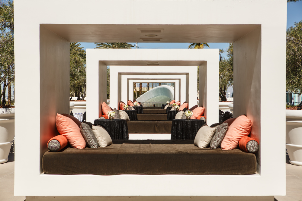 White cabanas are gorgeous for seating. Las Vegas Wedding Planner. Steven Joseph Photography