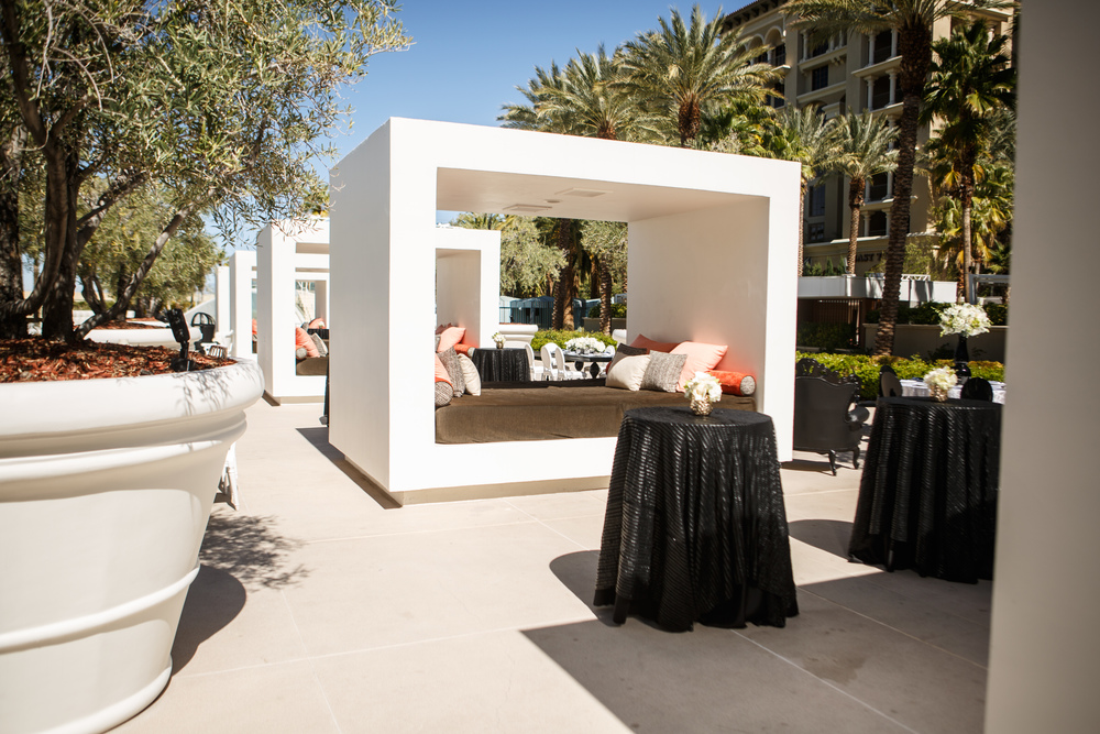 A line of cabanas are great for a cocktail party. Las Vegas Wedding Planner. Steven Joseph Photography