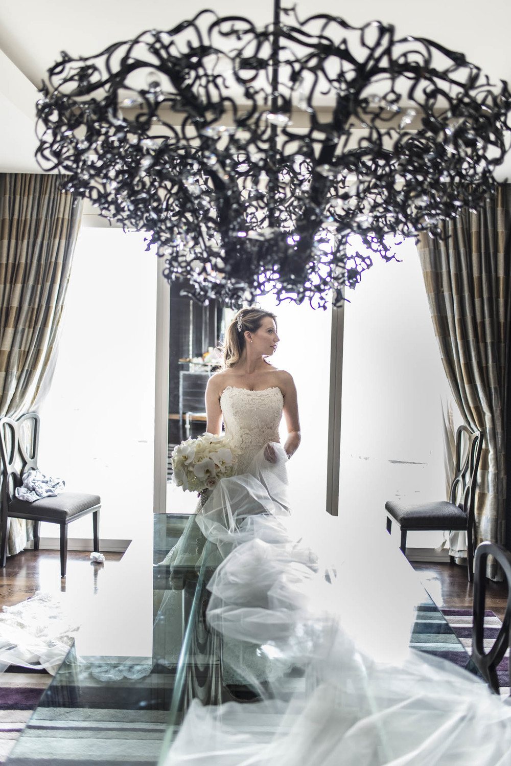 Bridal Portrait at Mandarin Oriental.  CREATIVE PARTNERS: PHOTOGRAPHY • AltF Photography, PLANNING • Andrea Eppolito Events, FLORAL AND DECOR DESIGN •Destinations by Design, VENUE AND CATERING • Mandarin Oriental, Las Vegas, STATIONERY DESIGN • Paper and Home, BRIDE'S GOWN • Vera Wang, SHOES • Jimmy Choo, GROOM'S FORMAL WEAR • Vera Wang, ENGAGEMENT RING • Delage Jewelers, WEDDING BANDS • T-Birds Jewels, CAKE DESIGN • Mandarin Oriental Las Vegas, DRAPING; DANCE FLOOR DESIGN AND PRODUCTION • Destination by Design, LIVE EVENT ARTIST • Sam Day, ENTERTAINMENT • Lucky Devils Band, CINEMATOGRAPHY • Something New