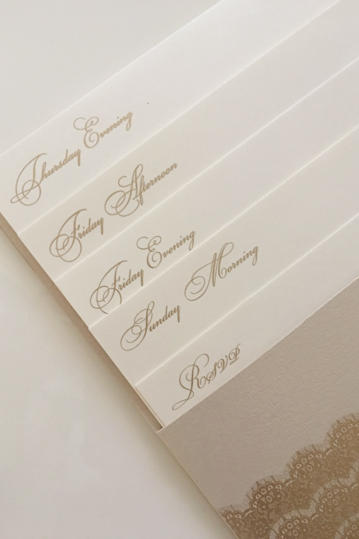 Wedding Invitation with multiple tiered inserts by Shop Annabelles.