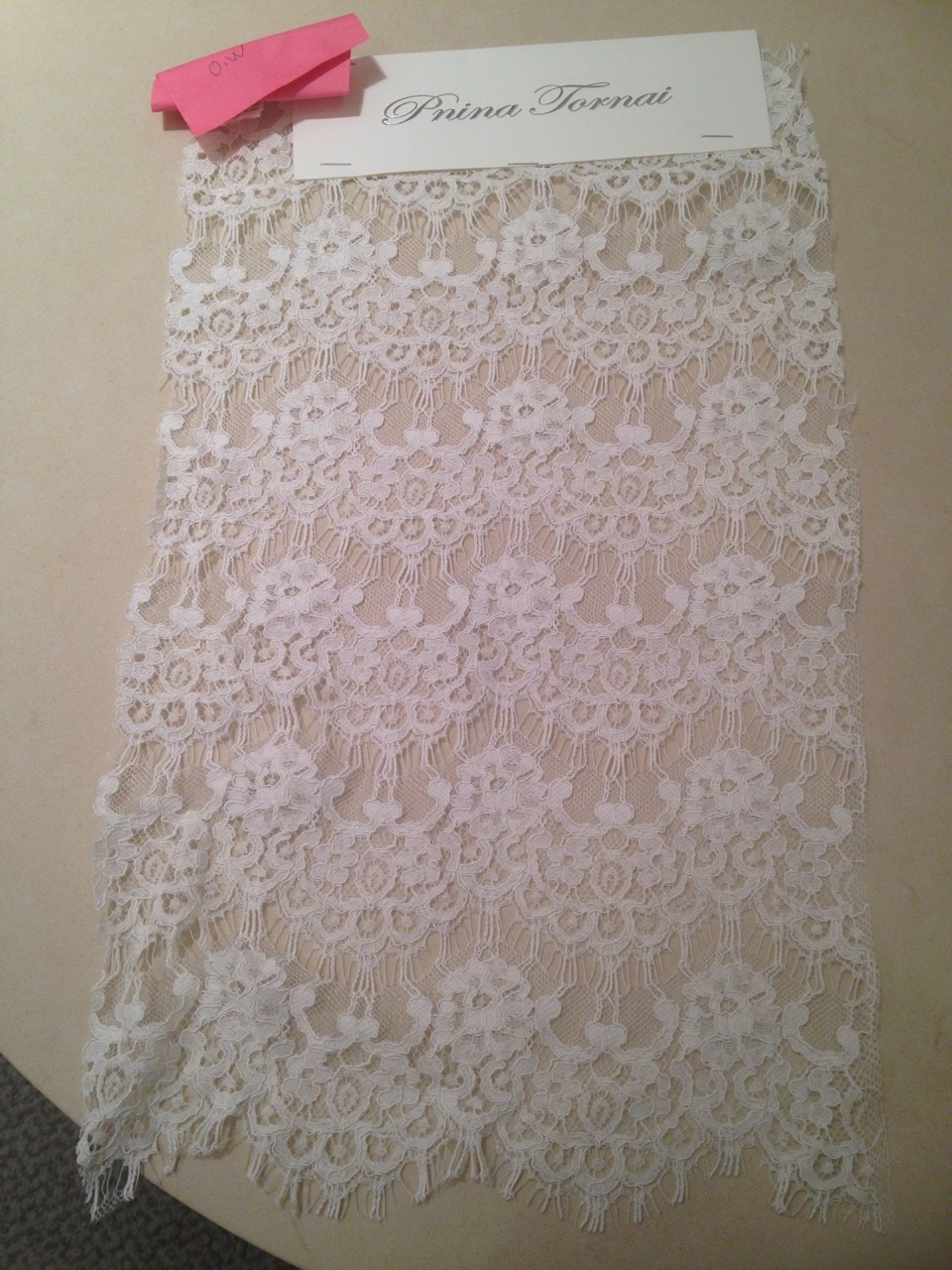 Cstom Swatch of Lace sent from P'Nina Tornai's office.