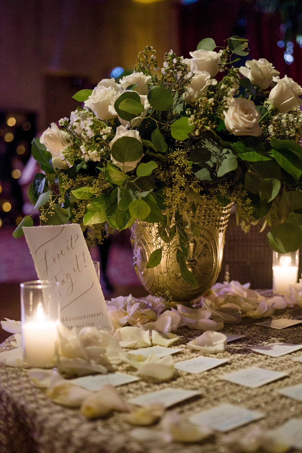 Welcome table and escort cards.  Calligraphy.  Luxury destination wedding conference.  Balance Reverie Retreat.
