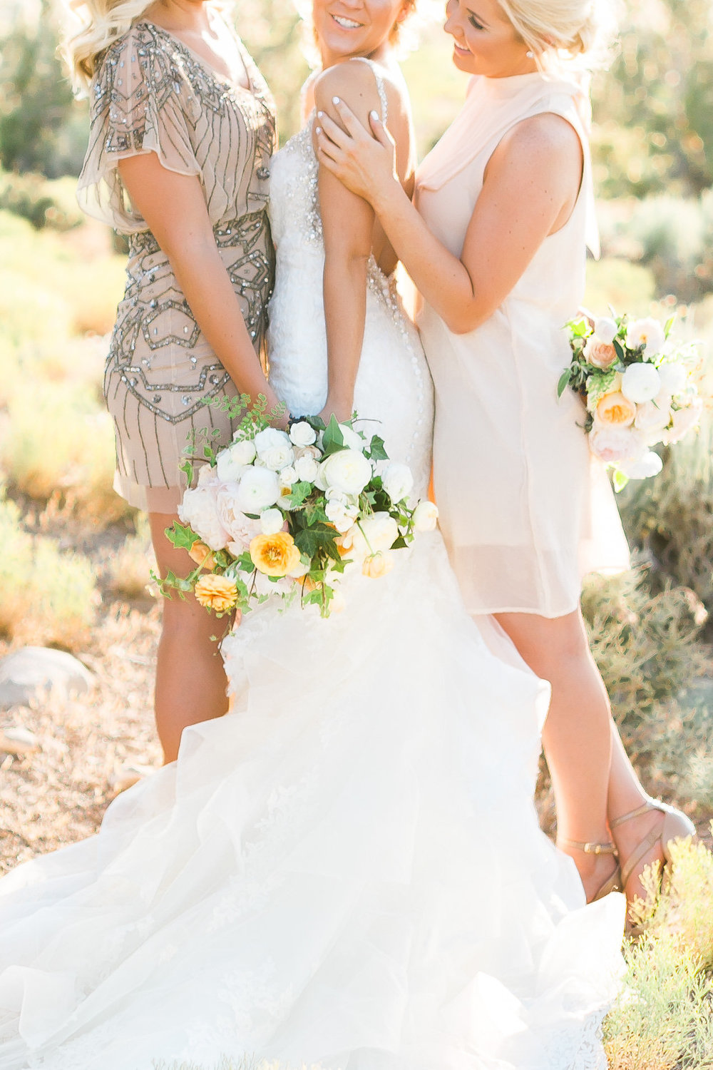 Glam rustic wedding bouquet and sequence bridesmaid dress.