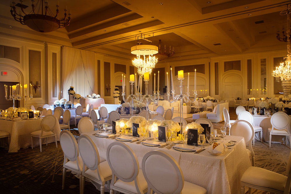 Wedding with chandeliers and candelabras.   Four Seasons Wedding by Las Vegas Wedding Planner Andrea Eppolito.  Image by AltF Photography.  Decor by DBD Vegas.