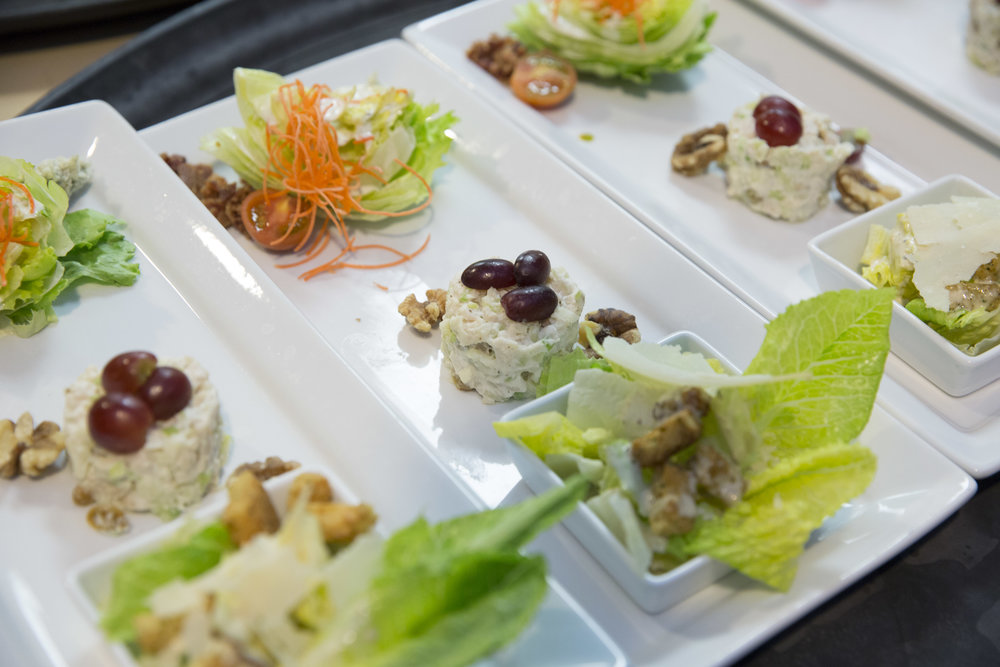 Salad Trio at Four Seasons Luxury Wedding.    Four Seasons Wedding by Las Vegas Wedding Planner Andrea Eppolito.  Image by AltF Photography.  Decor by DBD Vegas.  Mini Crab Salad