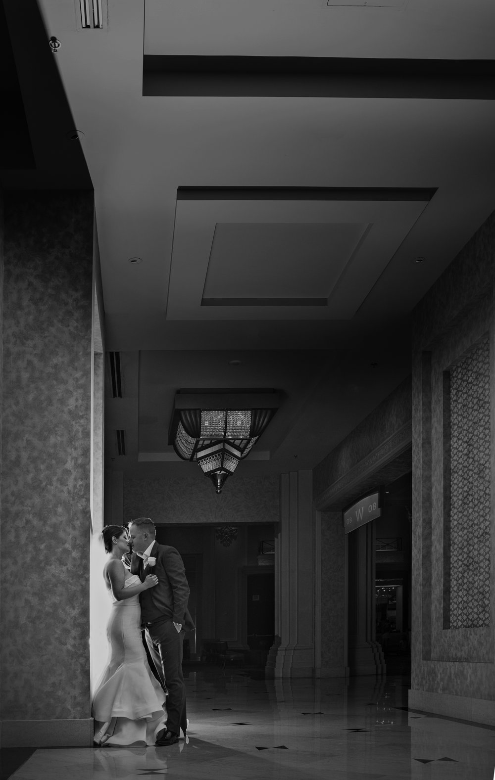 Couple portrait at luxury wedding at Four Seasons Las Vegas.  Luxury Las Veags Wedding Planer Andrea Eppolito. Image by AltF Photography.