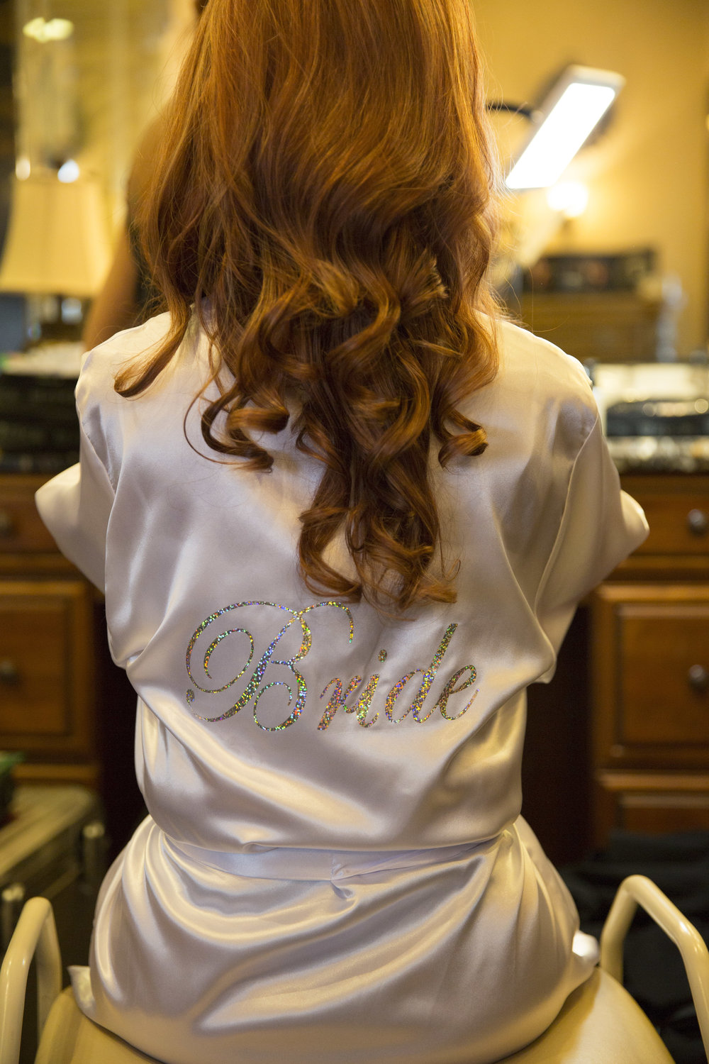 Bling Satin Bride Robe. Luxury Las Vegas Wedding Planner Andrea Eppolito.  Image by AltF Photography.