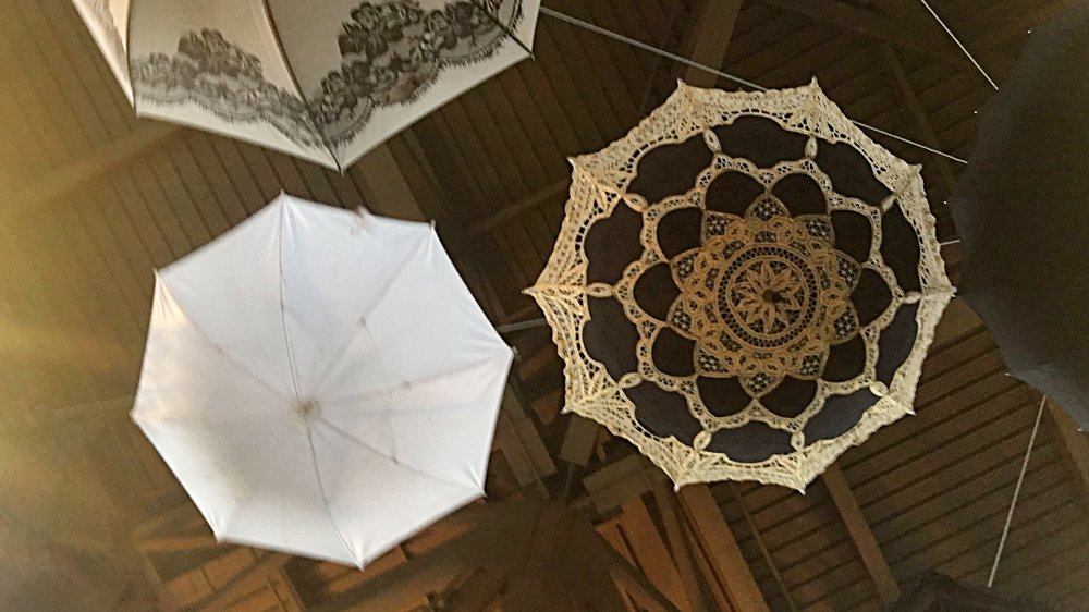 Las Vegas Wedding Planner Andrea Eppolito used black and white umbrellas for a ceiling treatment at wedding pro event.