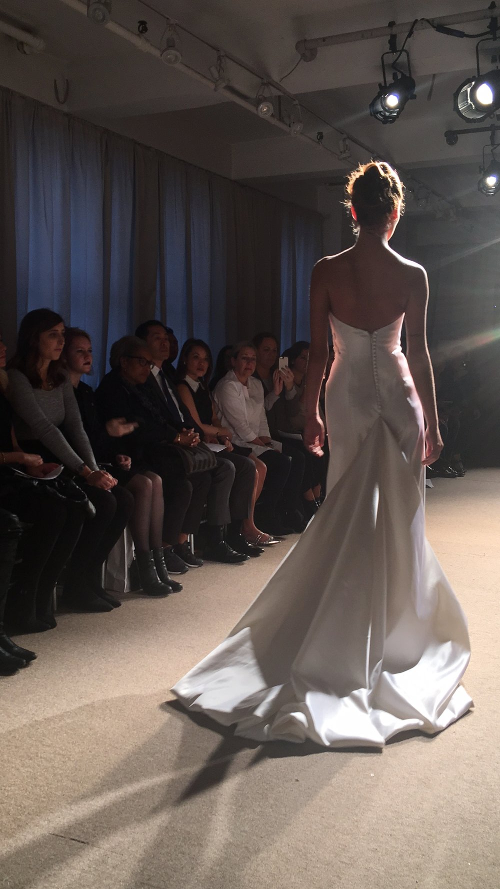 Las Vegas Wedding Planner Andrea Eppolito attends the Anna Maier couture show at Bridal Fashion Week 2017 in NYC. Back of Dress