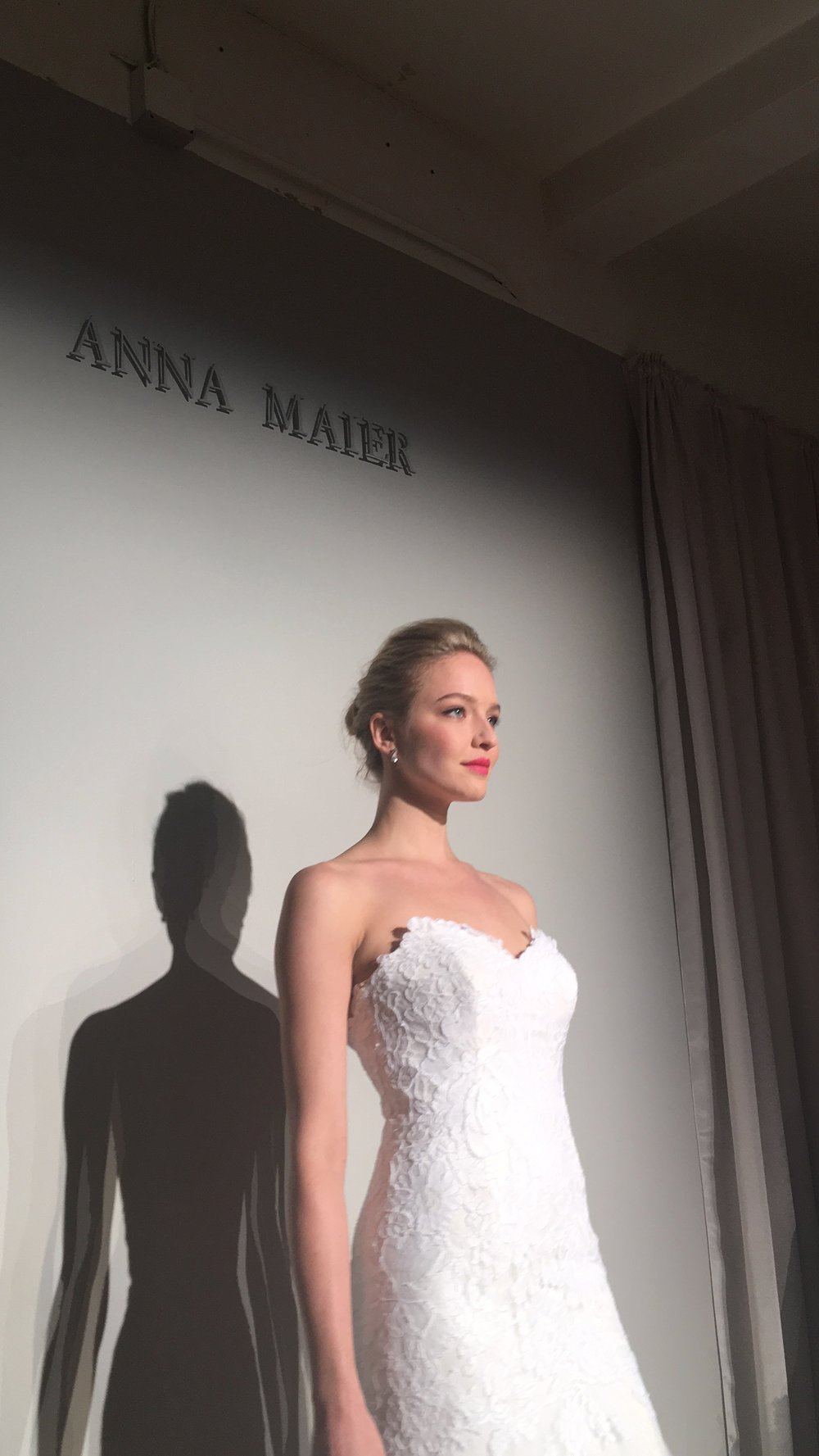 Las Vegas Wedding Planner Andrea Eppolito attends the Anna Maier couture show at Bridal Fashion Week 2017 in NYC.  Lace Dress