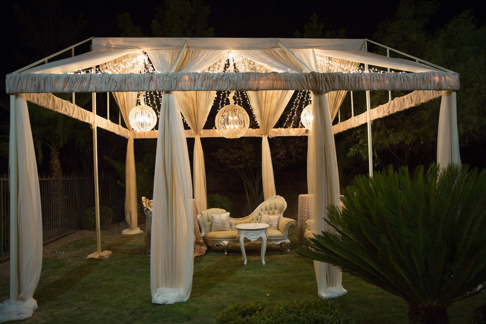 Open air tent with twinkle lights & Andrea Eppolito Events | Las Vegas Wedding Planner - Cinderella ...