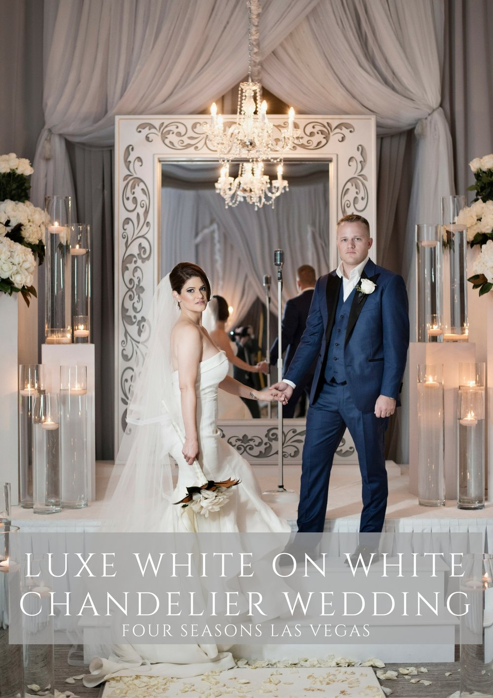 Luxe White and Grey Four Seasons Las Vegas Wedding