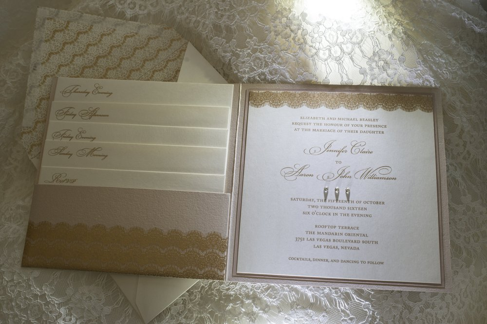 Invitations with P'Nina Tornai lace edging.  Photo by AltF Photography.