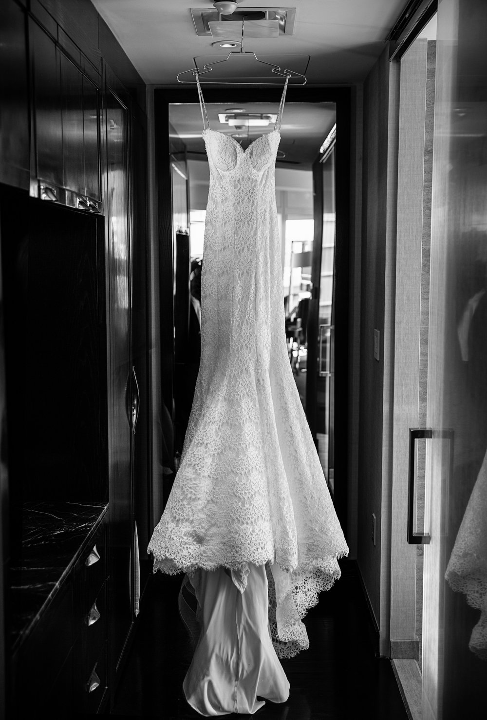 P'Nina Tornai Lace Wedding Gown.  Photo by AltF Photography.