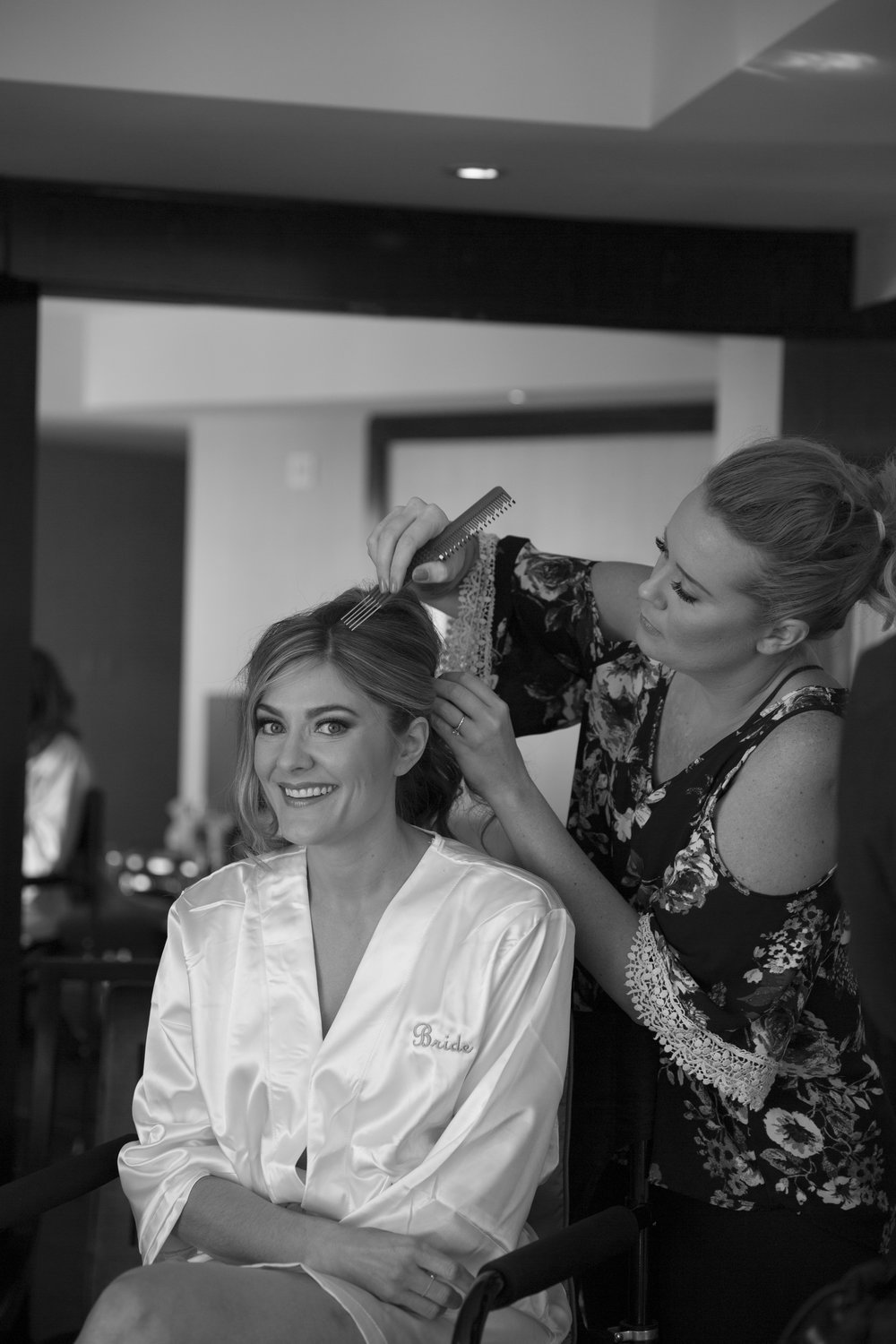 getting ready portraits. Hair and Make Up by Amelia C & Co. Photo by AltF.
