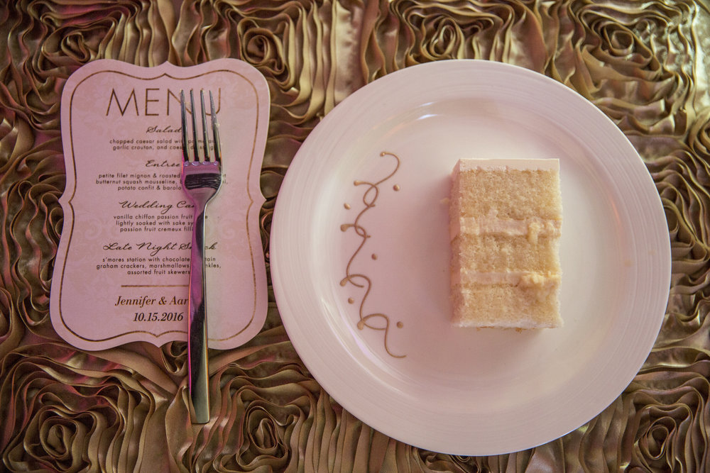 Printed Menu and Wedding Cake on Gold Linen. Las Vegas Wedding Planner Andrea Eppolito.  Image by AltF.