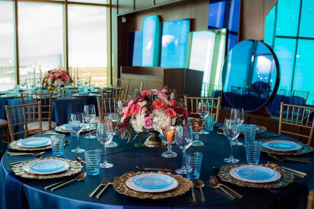 Wedding at Rivea Las Vegas at Mandalay Bay.     Styled Wedding Shoot inspired by French Blue.    Las Vegas Wedding Planner  Andrea Eppolito .  Photography by   Rebecca Marie  .  Floral and Decor by   By Dzign  .  Beauty by   Amelia C & Co  .  Shot at Rivea at The Delano.