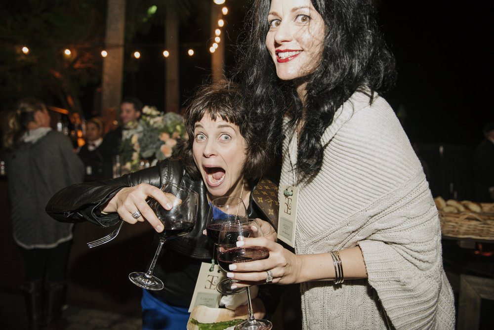 With Cameron Clark.  When I drink, it's a red!  And we get silly! Photo by Carla Ten Eyck.