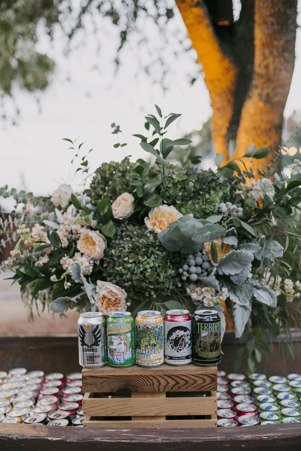 Such a sweet and feminine beer station!  Drinking from the can never looked so elegant!  Photo by Elisha Coleman of Love Life Images.
