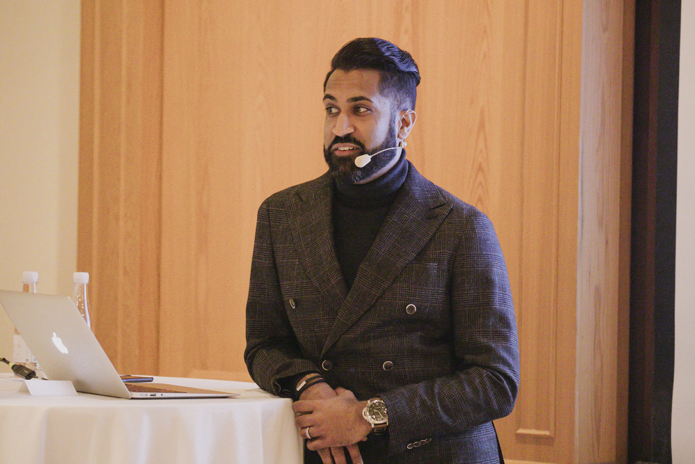 Speaker Rishi Patel on design.  Photo by Paul Morse.