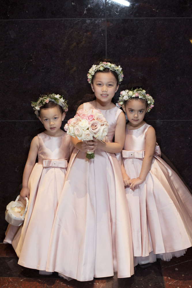 Flower Girls dressed in pink.  Las Vegas Wedding Planner Andrea Eppolito.  Image by AltF Photography.   Floral and Decor by Destinations by Design.