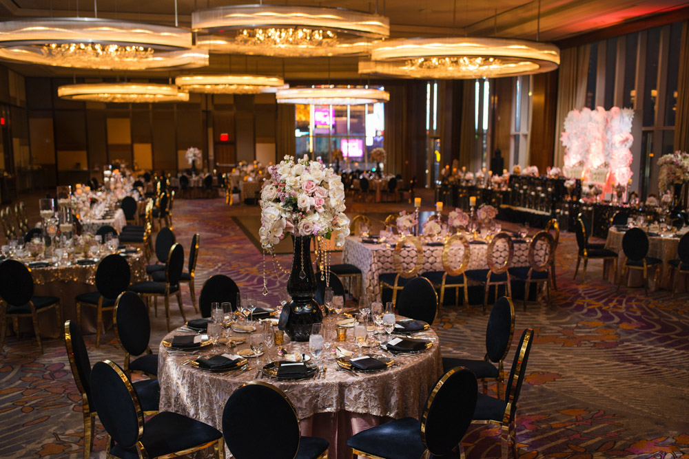 The ballroom at the Mandarin Oriental.   Las Vegas Wedding Planner Andrea Eppolito.  Image by AltF Photography.   Floral and Decor by Destinations by Design. Luxury Wedding at Mandarin Oriental.