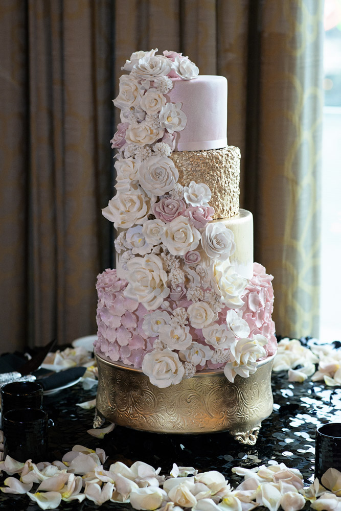 Heavily textured wedding cake.  Las Vegas Wedding Planner Andrea Eppolito.  Image by AltF Photography.   Floral and Decor by Destinations by Design. Luxury Wedding at Mandarin Oriental.